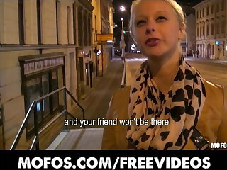 Cute blonde Czech student is paid for sex in public