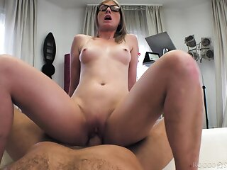 Casting amateur with sexy glasses, naughty bedroom anal