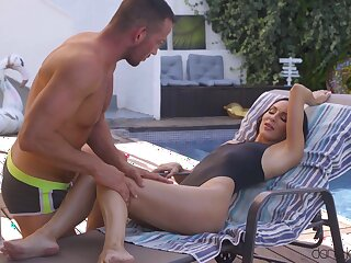 Hardcore fucking by the pool with skinny cutie Lilu Moon. HD