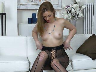 Kinky darling Mischelle opens her legs nearby finger her pussy