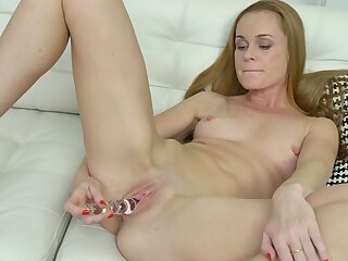 Cream beauteous mature Nica plays with her tits and pink taco