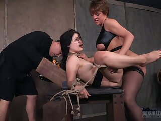 Slave comprehensive Yhivi enjoys getting fucked by two dudes via torture