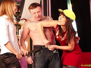 Dick sucking by stunning pornstars Jessica Pressley and Lucy Love