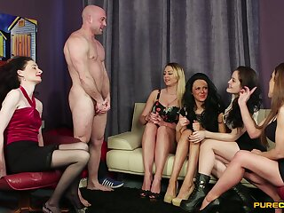 Bitches throat the man's gumshoe and leman in insane sissified orgy
