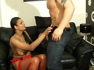 Elegant explicit India moans while getting her pussy banged on a couch