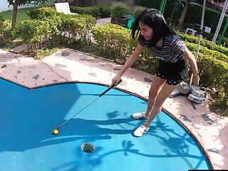 Bush-league Thai teen really bad to hand minigolf
