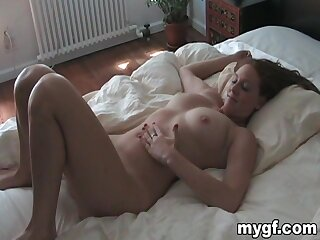Amateur POV video of wild fucking in the bed with a deviant housewife